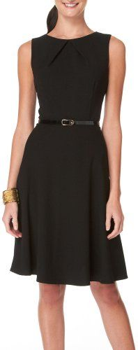AGB Sleeveless Belted Pleated Black A-Line Dress | Love yourself