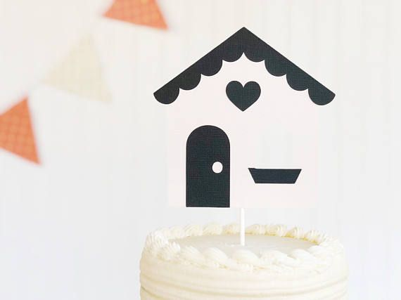 this sweet and simple house cake topper is perfect for your next party or shower  item is handmade with die cut images with quality textured card stock paper.  the stick measures approximately 6 inches image measures approximately 6.25 x 6.25 inches comes assembled with clear tape