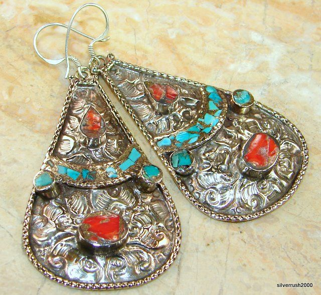 $46.96 Huge!! Colorful Multistone Turquoise Sterling Silver earrings