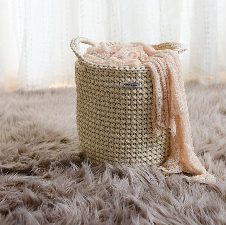 Cream handmade storage basket, toy basket, home decor, rope crochet basket by iKNITSTORE on Etsy