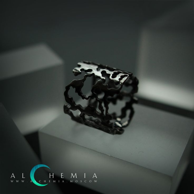 The Bark ring. Blackened silver. Handmade by Alchemia Jewellery.