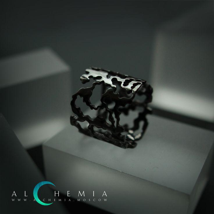The Bark ring. Blackened silver. Handmade by Alchemia Jewellery.