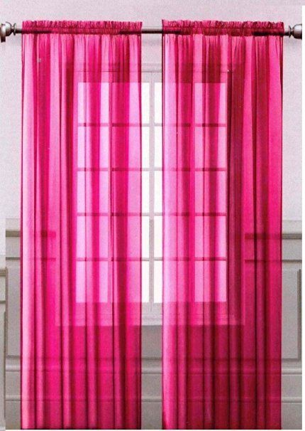 Onestopshop's Hot Pink Voile Sheer Panel Drape Curtain for Your Window Fully…