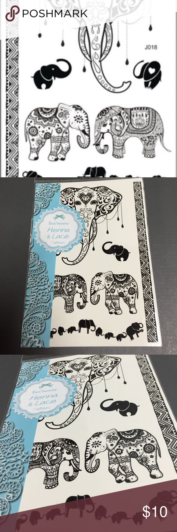 7 Henna Elephant Tattoos Lace Black 7 beautiful black Hanna & Lace temporary Tattoos, instructions included, high quality, when applied properly they stay on 5 days or more, boho, festival, Dreamcatcher, Paisley, bracelet Other