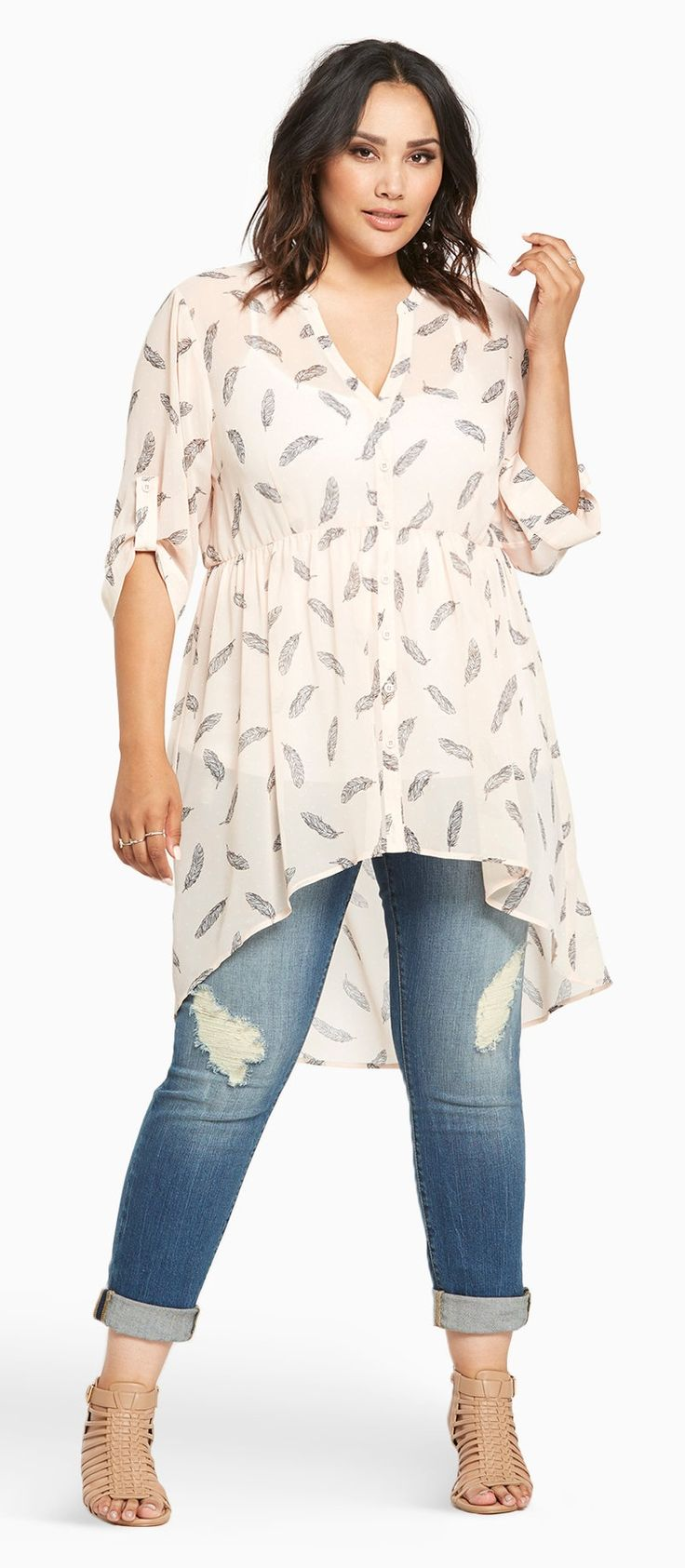 Plus Size Feather Print Chiffon Hi-Lo Top