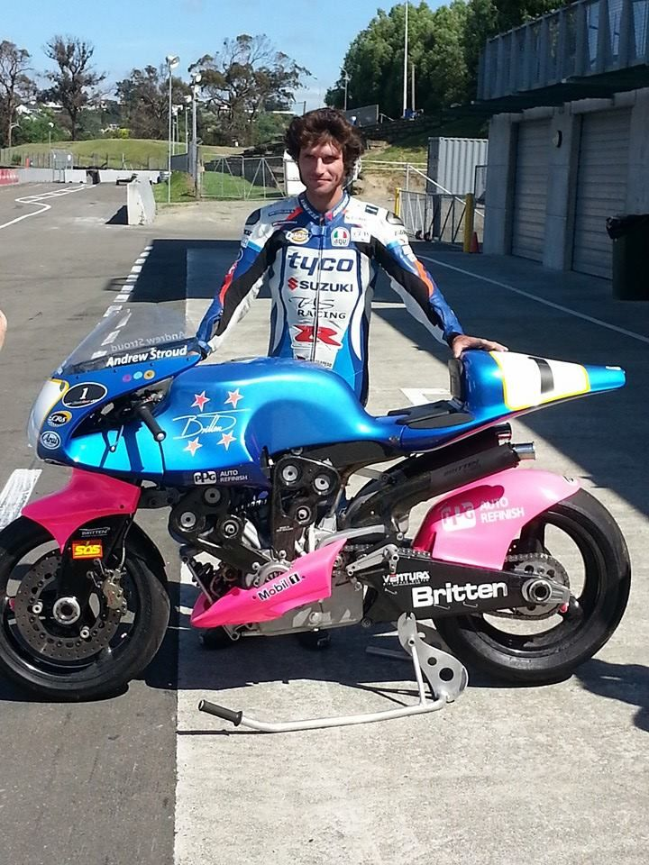 Guy Martin next to one of John Britten's bikes.