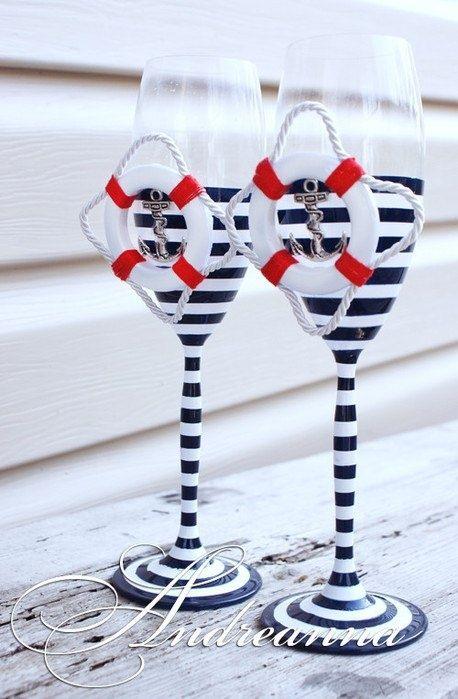 Nautical Champagne Glasses   nautical-wed-champagne-glasses