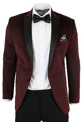Mens Slim Fit 1 Button Velvet Suit Tuxedo Dinner Burgundy Maroon Black 3 Piece