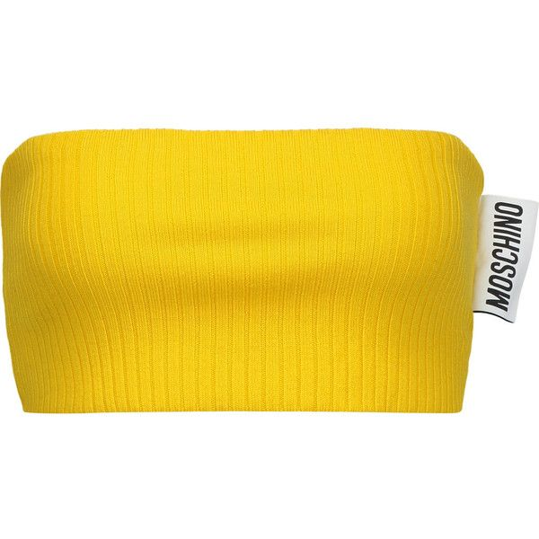 Moschino - Ribbed Wool Bandeau Top (£86) ❤ liked on Polyvore featuring tops, sweaters, yellow, ribbed top, woolen sweater, bandeau bikini tops, moschino sweater and bandeau tops