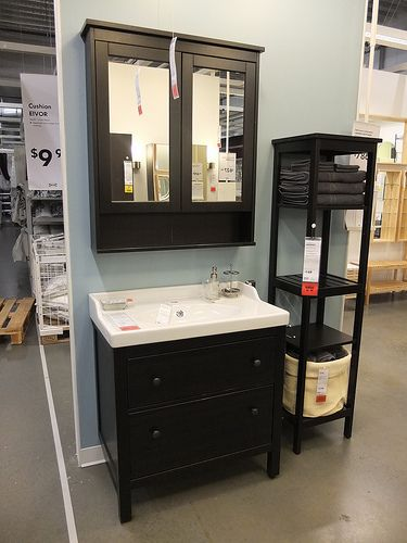 hemnes bathroom cabinet. will be in white