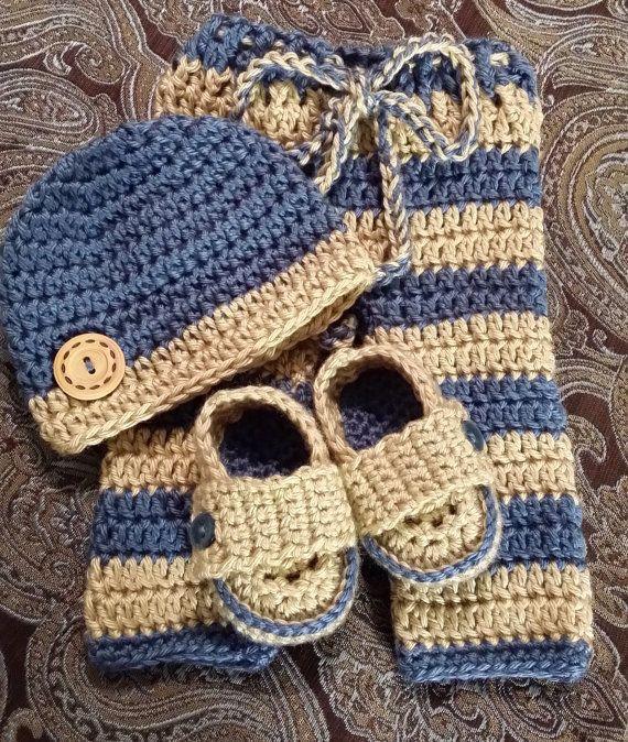 Adorable Newborn Boy Crochet pant, beanie and shoe set, Photo prop, on Etsy, $45.00