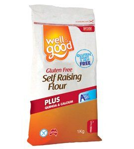 Well and Good Gluten Free Self Raising Flour (Rice Flour, Potato Starch, Tapioca Starch, Sugar, Raising Agents (450,500,575), Emulsifiers (475,471 (from soy), 481), Dextrose Monohydrate, Modified Starch (Tapioca) (1412), Quinoa Flour (2.3%), Salt, Thickeners (466,415), Lithothamnion Calcereum. )