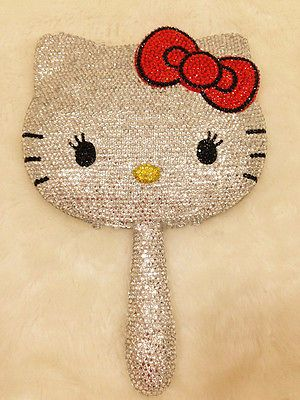 Kawaii~3D Bling Hand Held Hello Kitty Crystal Diamond Make Up Mirror X'Mas Gift