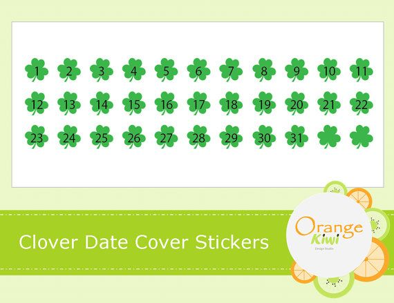 Clover Date Covers March Planner Stickers for by OrangeKiwiDesign