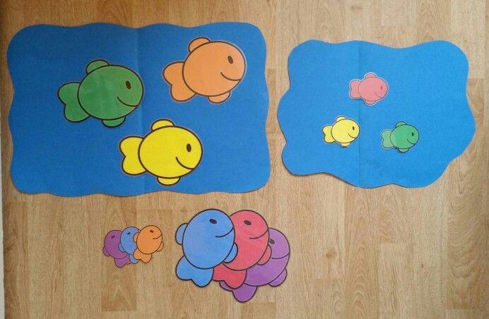 Sorteren groot en klein. Zie visjes en aquariums in verschillende kleuren.