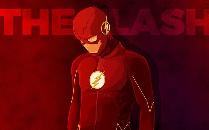 Télécharger fonds d'écran Flash, minimal, superheroe, de la Ligue de Justice, Le Flash
