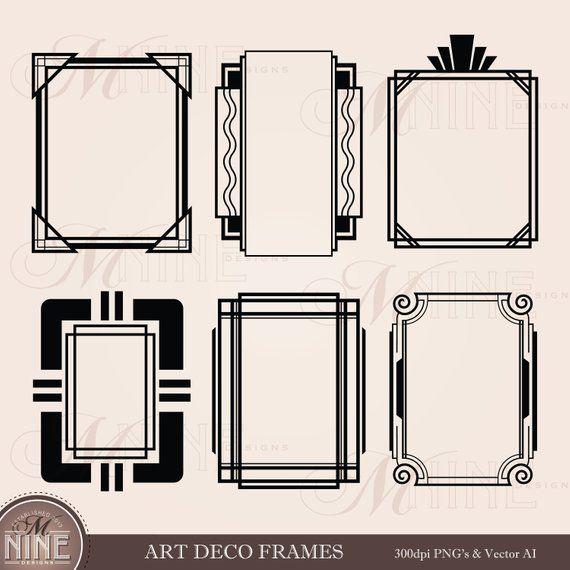 Art Deco Frames Clip Art Roaring 20s Clipart Downloads Etsy In 2021 Bullet Journal Ideas Pages Bullet Journal Themes Yearbook Themes