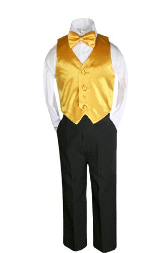 b5ff1356d312 Unotux 4 Pcs Formal Boys Yellow Satin Vest Bow Tie Sets Suits From Baby to  Teen