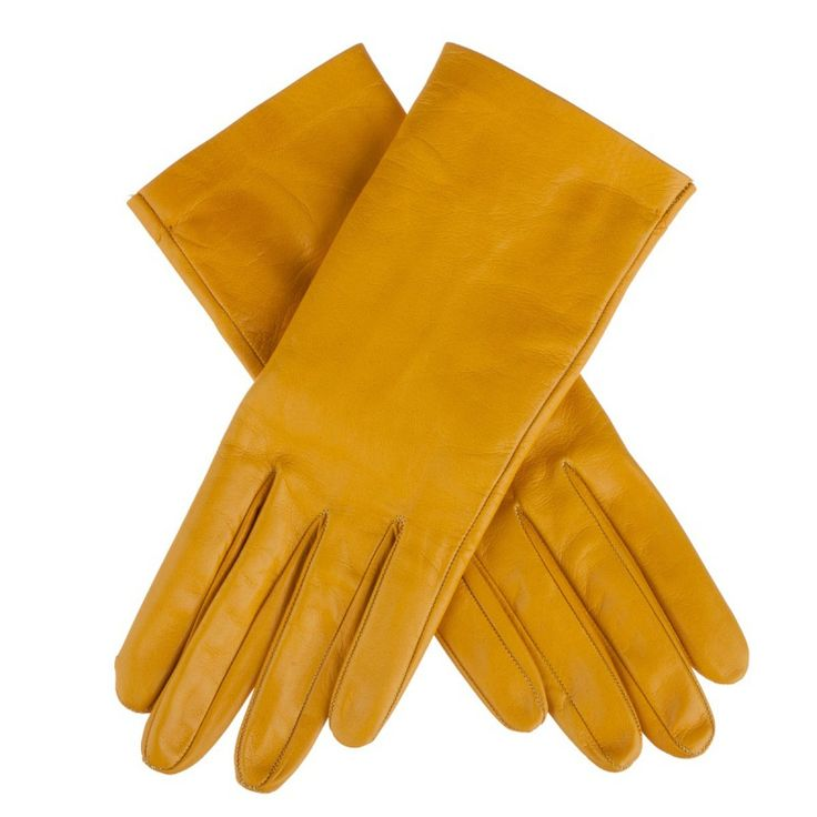 Flora – unlined lambskin gloves - yellow color