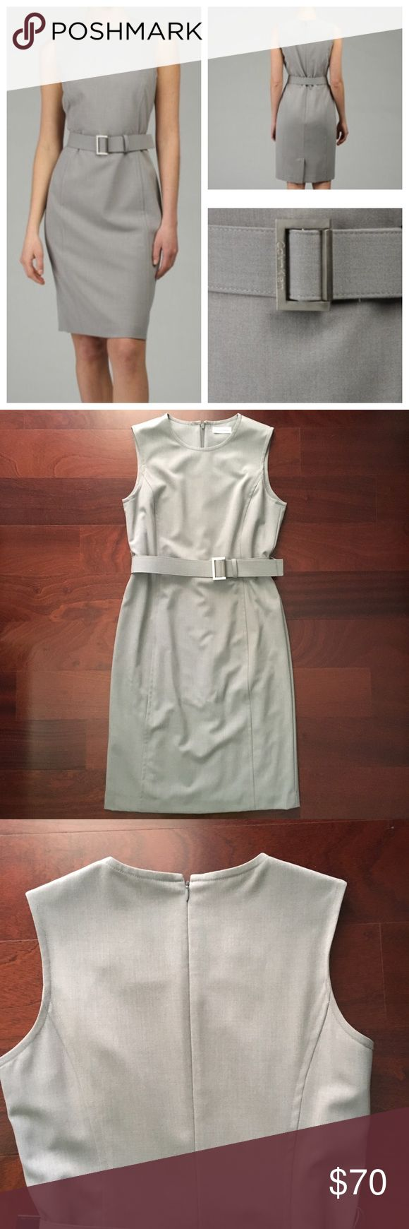   Calvin Klein   Sheath Dress Calvin Klein Sleeveless Sheath Dress. Tin. Size 6.         Structured dress with attached branded belt. Rounded neck. Back zippered entry. Front darting. Box pleat on back. Lined. First picture to show fit and style. Calvin Klein Dresses