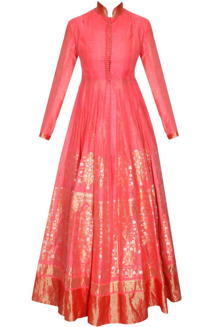 Hot pink hand woven chintz jhaad long kalidaar lehenga set available only at Pernia's Pop-Up Shop.#designer #fashion #HappyShopping #love #shopnow #rahulmishra #festive