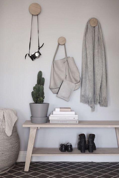 Anna Kubel's styling of The Muuto Dots. Scandinavian hallway inspiration with pale wood.