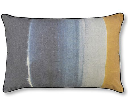 Ombre Indigo and Yellow Painted Cushion