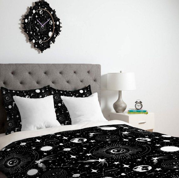 Black Duvet Cover Outer Space Duvet Celestial Queen Etsy Black Duvet Cover Black Duvet Outer Space Room