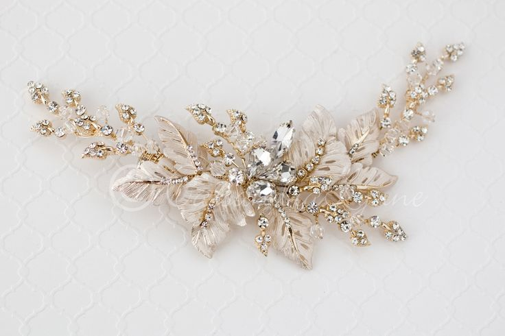 Bridal Headpiece of Frosted Leaves Jewels and Crystals Gold Champagne Gold