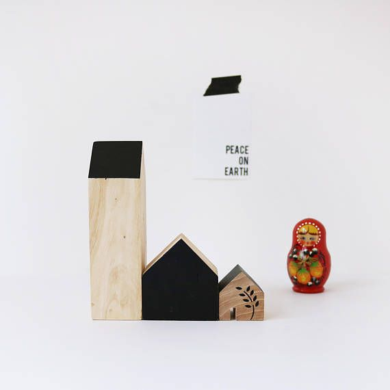 FIVEOEIGHT CO Set of 3 Wooden Houses, Natural wood and black paint home decor, Scandi Christmas decor, modern, handmade, eco, wood blocks
