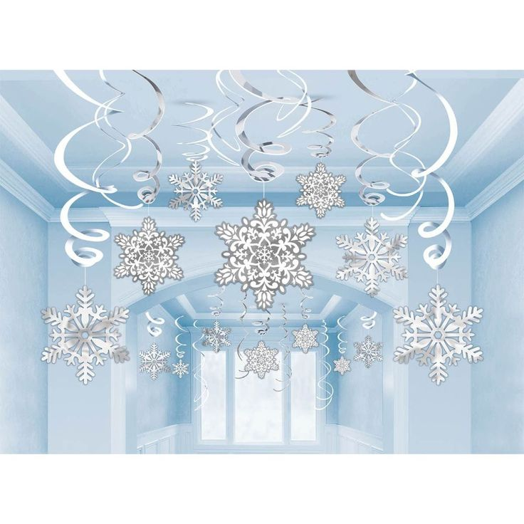30 Hanging Snowflakes & Swirling Christmas Ceiling Decorations. Silver White in Home, Furniture & DIY, Celebrations & Occasions, Christmas Decorations & Trees | eBay