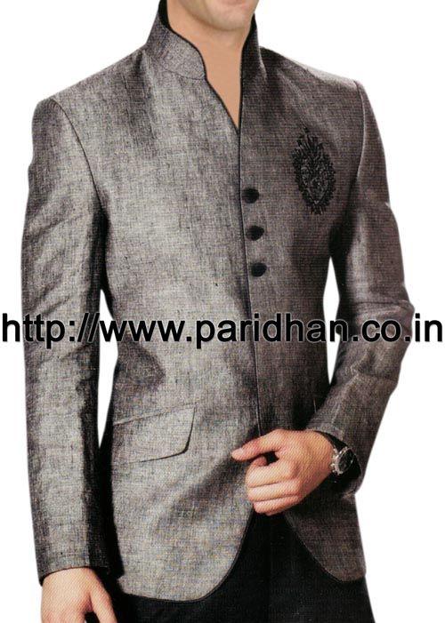 Royal look mens nehru jacket made in gray linen fabric.