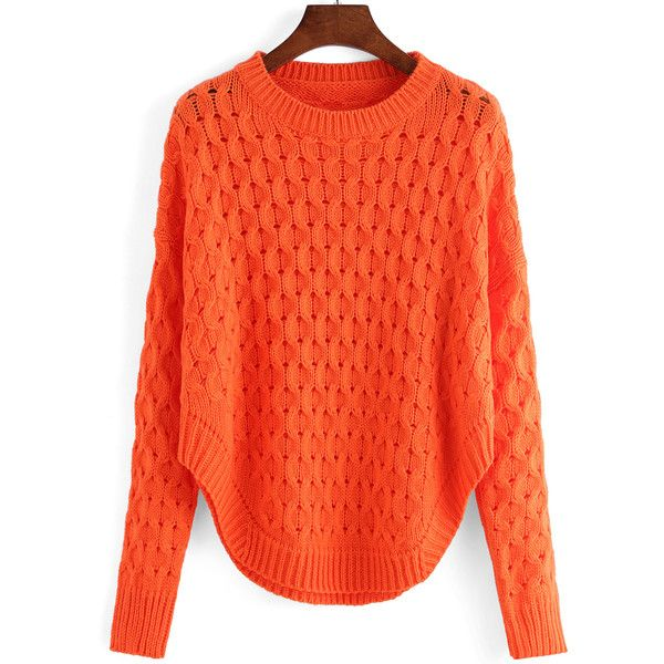 Round Neck Hollow Crop Orange Sweater ($19) ❤ liked on Polyvore featuring tops, sweaters, orange, sweater pullover, long sleeve pullover sweater, loose pullover sweater, long sleeve crop top and red pullover sweater