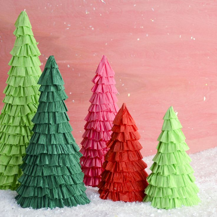 Crepe Paper Ruffle Trees Winter Decor Fun Winter Crafts Winter Diy Crepe Paper Crafts Paper Christmas Decorations Handmade Christmas Decorations