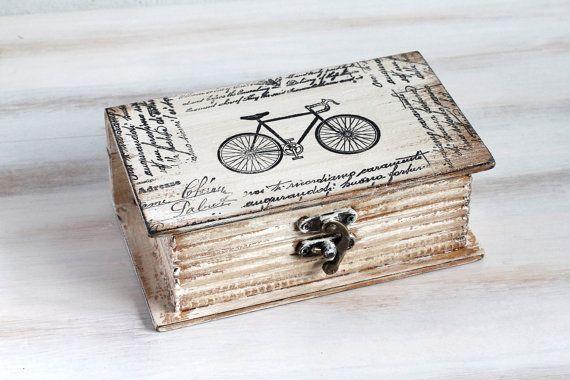 Beige Decorative Book Box, Bicycle Keepsake Box, Memory box , Book Treasury Wooden Box, ohtteam