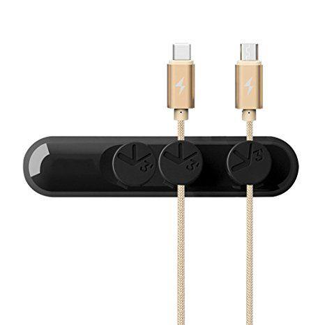 Philonext Kabel Magnetclips, Schreibtisch-Kabel-Management, Mehrzweck Kabel-Organizer mit 3er-Pack Kabel Schnallen - für Handy-Kabel (weniger als 4mm), schwarz