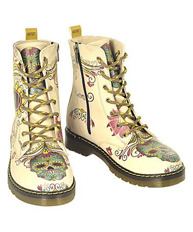 Another great find on #zulily! Buttercup Sugar Skull Combat Boot #zulilyfinds
