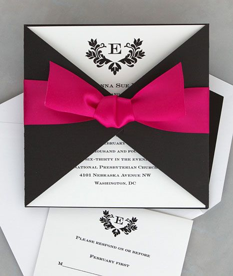 wedding invite, only with a red ribbon