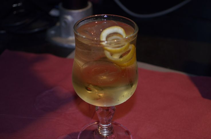 Lemon Blossom - gin, maraschino liqueur, & klein konstantine...topped with tonic with a lemon twist.