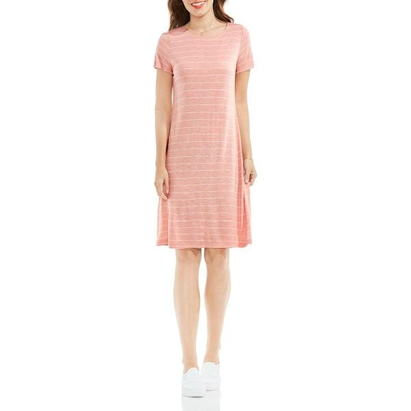 Vince Camuto Pinstripe Tee Dress (1,895 MXN) ❤ liked on Polyvore featuring dresses, coral dusk, t-shirt dresses, vince camuto, tee shirt dress, coral dresses and coral red dress