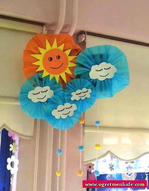 Bulut güneş mobil sınıf süsü