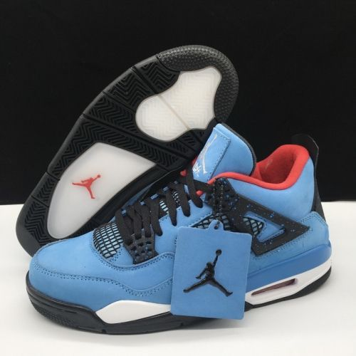 new arrival 88370 fc7c3 Best Quality Travis Scott x Air Jordan 4 Houston Oilers University Blue  Varsity Red-Black - Mysecretshoes