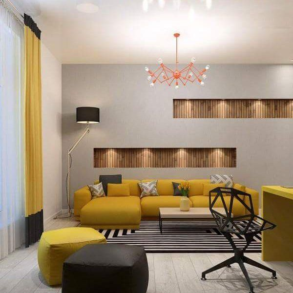 This Space From Visualizer Catherine Domracheva Is Build Around A Lovely Bright Colour Palette Wood PanelingSurface DesignModern InteriorsLiving
