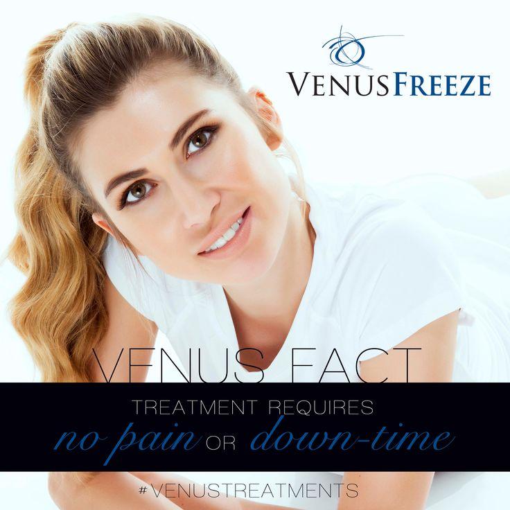 Venus Facts ! Treatments that requires No Pain & No Downtime. Find your nearest Venus Freeze certified provider @ www.venustreatments.com  #Venusfreeze #facts #VenusBeauty