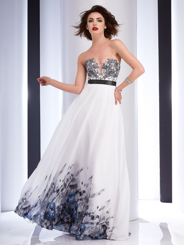 Smoke Chiffon Prom Gown