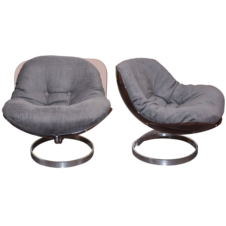 """1stdibs   Two 1970s """"Sphere"""" Easy Chairs by Boris Tabacoff"""