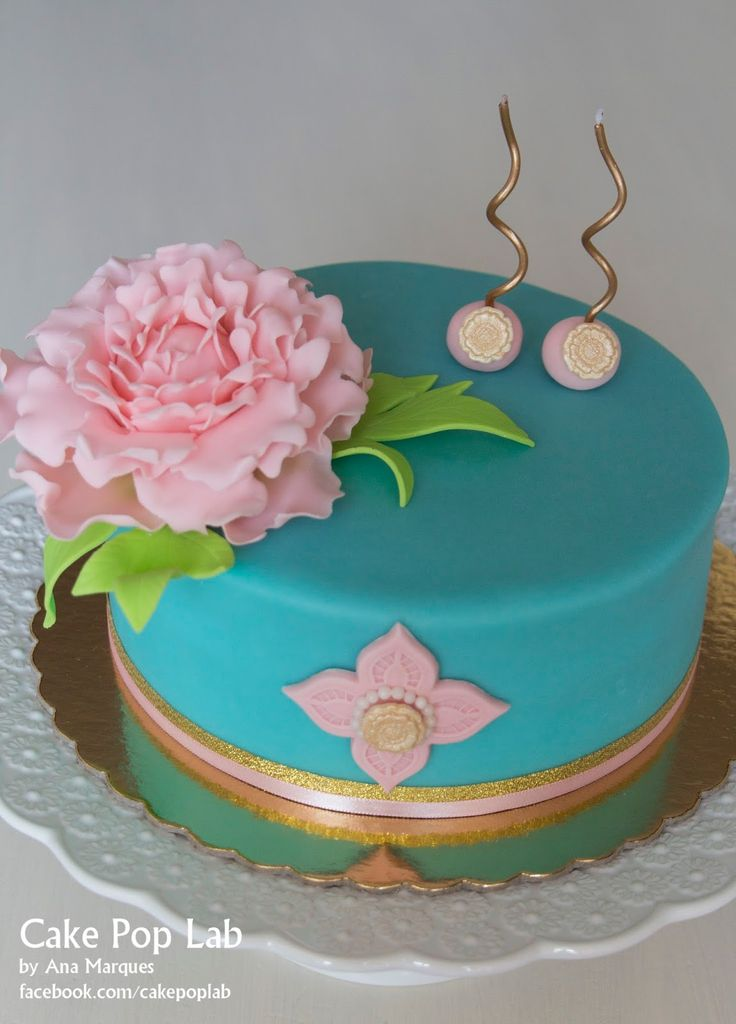 Peony Birthday Cake by Cake Pop Lab