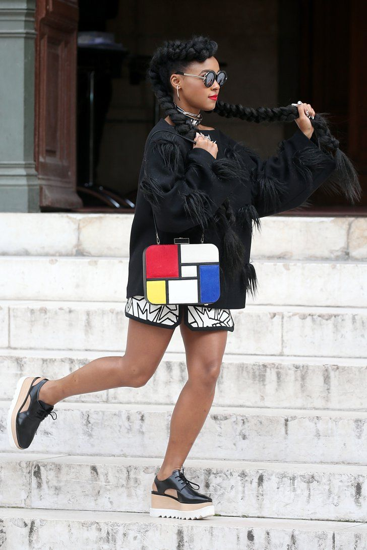 Pin for Later: Les Célébrités Se Bousculent à la Fashion Week de Paris Janelle Monáe Au défilé Stella McCartney.