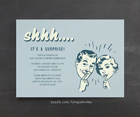 15 best surprise party invitations images on pinterest birthday retro surprise birthday invitations solutioingenieria Images
