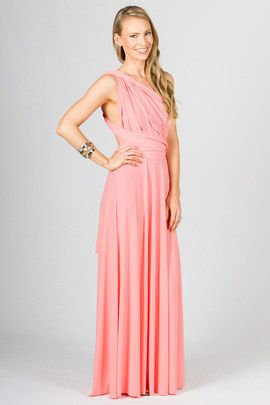 """Multi Way Wrap Maxi - Pale Pink by Paper Scissors Frock. This clever design can be worn in endless styles.  It really is up to your imagination.  We have shot it in a few styles to give you some ideas. Made from high quality ITY polyester.  Pictured model is 5'9"""""""
